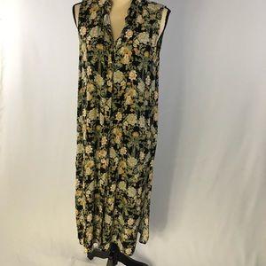 Zara Basic Button Down Duster -Asian Floral Print